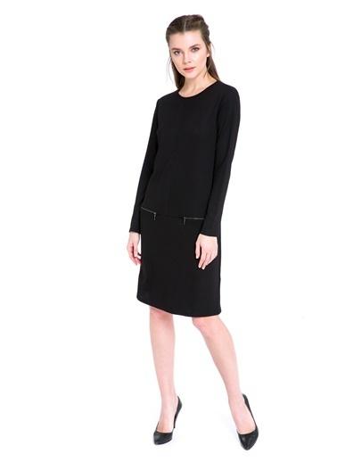 LC Waikiki Düz Siyah Uzun Kollu Elbise Siyah